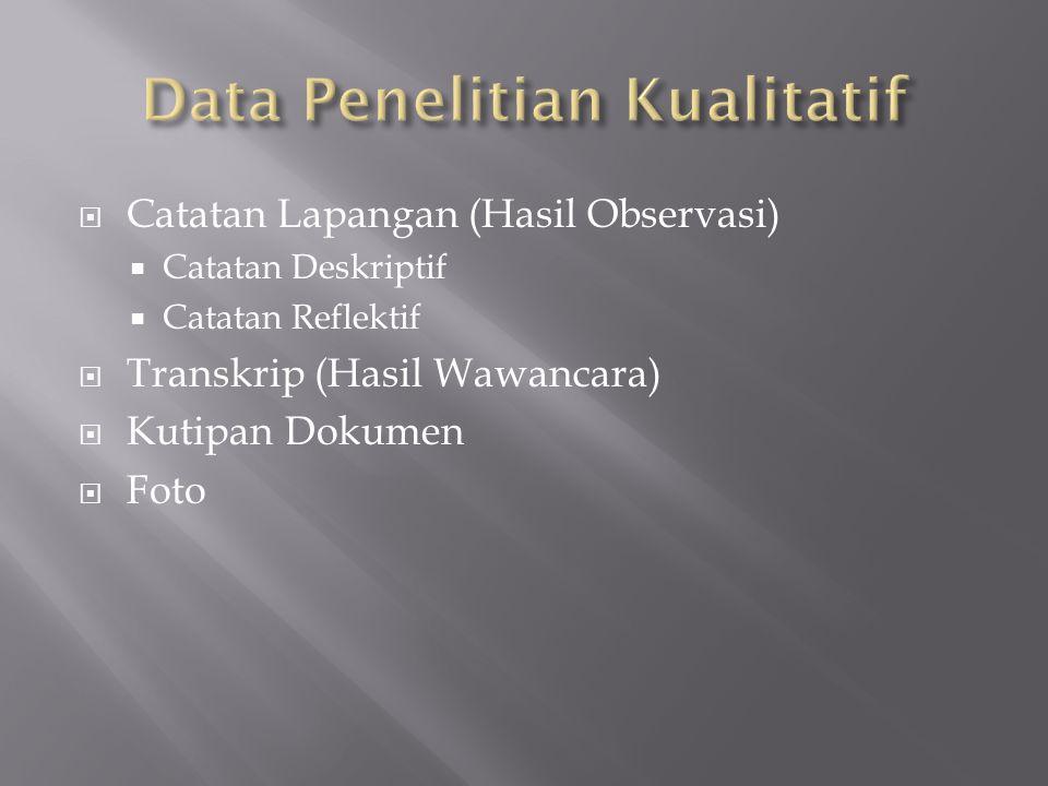  Catatan Lapangan (Hasil Observasi)  Catatan Deskriptif  Catatan Reflektif  Transkrip (Hasil Wawancara)  Kutipan Dokumen  Foto