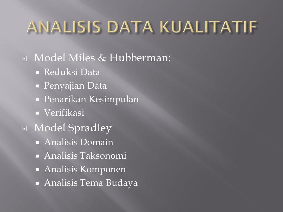  Model Miles & Hubberman:  Reduksi Data  Penyajian Data  Penarikan Kesimpulan  Verifikasi  Model Spradley  Analisis Domain  Analisis Taksonomi