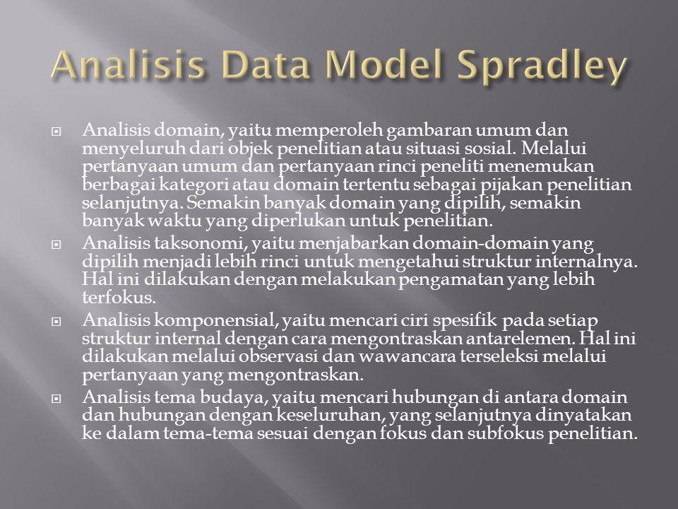  Analisis domain, yaitu memperoleh gambaran umum dan menyeluruh dari objek penelitian atau situasi sosial. Melalui pertanyaan umum dan pertanyaan rin