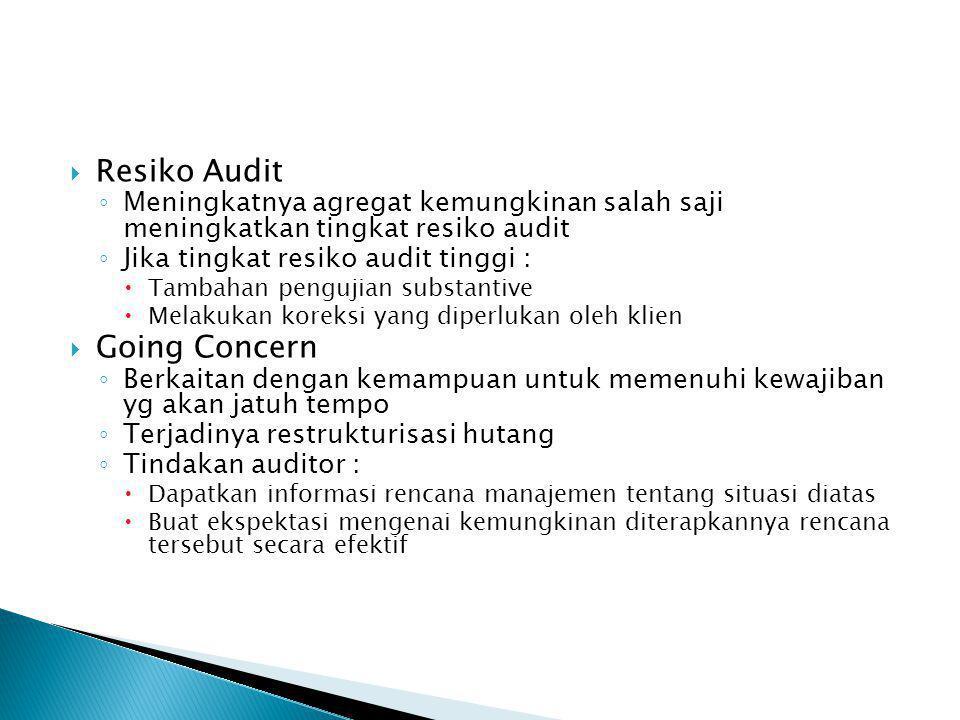 RResiko Audit ◦M◦Meningkatnya agregat kemungkinan salah saji meningkatkan tingkat resiko audit ◦J◦Jika tingkat resiko audit tinggi : TTambahan pen