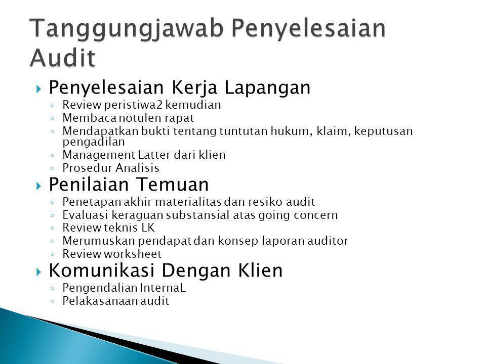 PPenyelesaian Kerja Lapangan ◦R◦Review peristiwa2 kemudian ◦M◦Membaca notulen rapat ◦M◦Mendapatkan bukti tentang tuntutan hukum, klaim, keputusan pe