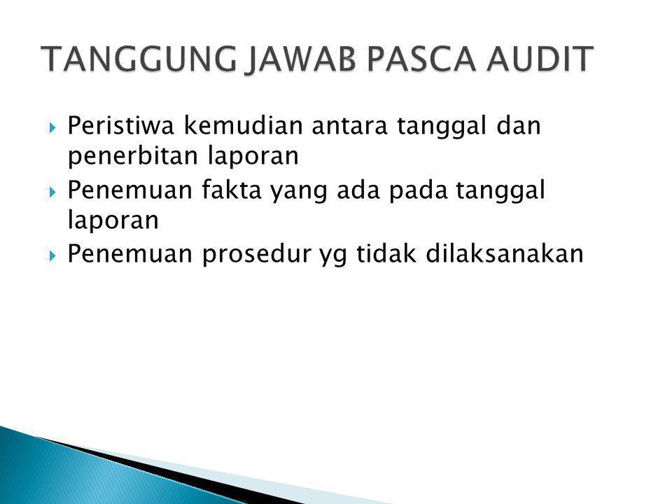  Peristiwa kemudian antara tanggal dan penerbitan laporan  Penemuan fakta yang ada pada tanggal laporan  Penemuan prosedur yg tidak dilaksanakan