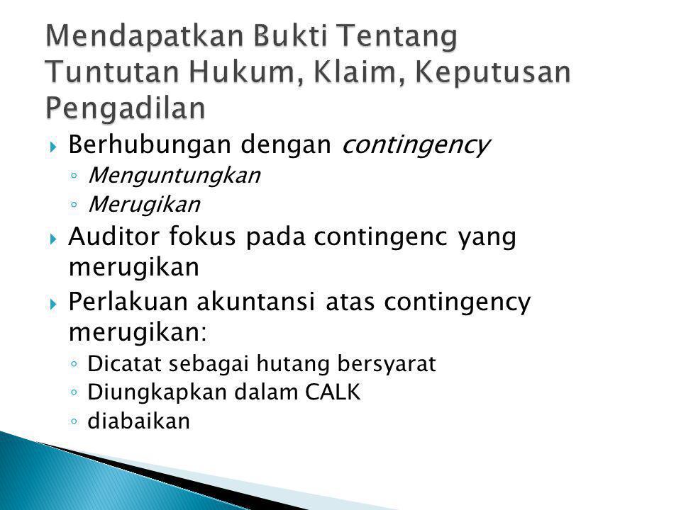 PPotensi sumber Contingency buruk : ◦K◦Kurang bayar pajak ◦G◦Garansi produk ◦G◦Garansi hutang dari pihak lain ◦T◦Tuntutan hukum ◦K◦Klaim ◦K◦Keputusan pengadilan WWaspada atas kewajiban bersyarat CContingecy dapat terindikasi pada notulen rapat