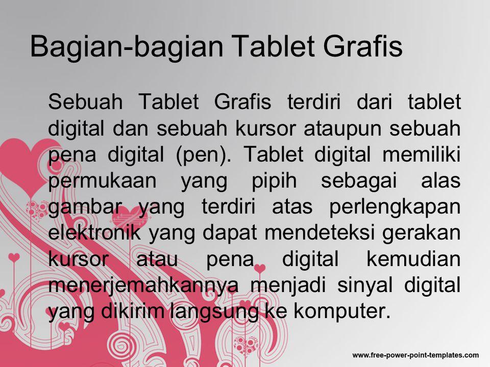 Bagian-bagian Tablet Grafis Sebuah Tablet Grafis terdiri dari tablet digital dan sebuah kursor ataupun sebuah pena digital (pen).