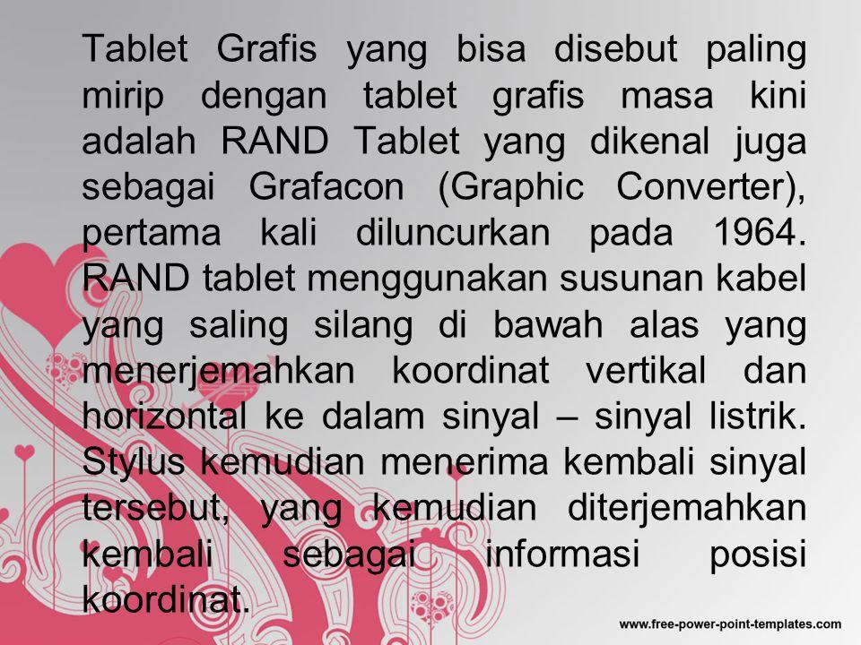 Tablet Grafis yang bisa disebut paling mirip dengan tablet grafis masa kini adalah RAND Tablet yang dikenal juga sebagai Grafacon (Graphic Converter), pertama kali diluncurkan pada 1964.