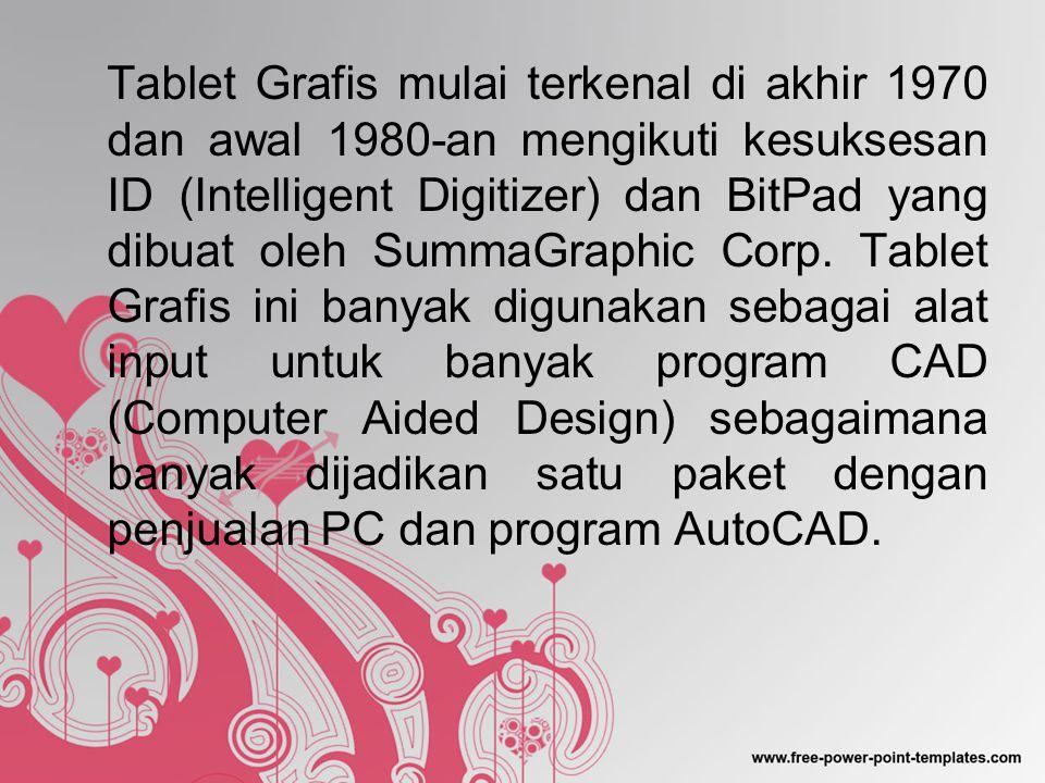 Tablet Grafis mulai terkenal di akhir 1970 dan awal 1980-an mengikuti kesuksesan ID (Intelligent Digitizer) dan BitPad yang dibuat oleh SummaGraphic Corp.