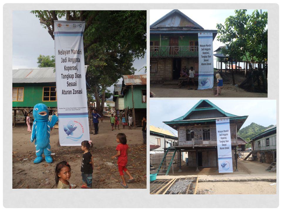PETA GANTUNG • Dicetak sebanyak 400 buah stiker dibagi dan ditempelkan kepada setiap kapal nelayan, yang ada di Kampung Rinca, Kerora dan Kampung Komodo • Ada juga yang terpasang di setiap rumah nelayan yang merupakan tempat strategis.