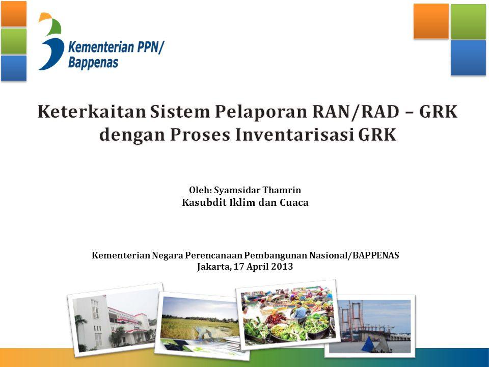 Oleh: Syamsidar Thamrin Kasubdit Iklim dan Cuaca Kementerian Negara Perencanaan Pembangunan Nasional/BAPPENAS Jakarta, 17 April 2013