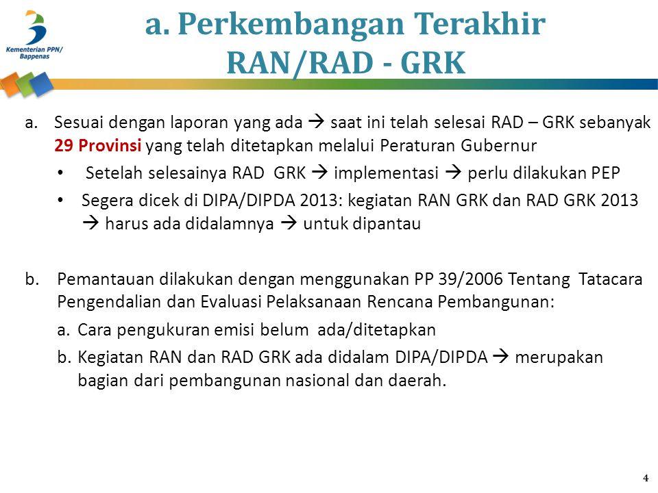 a. Perkembangan Terakhir RAN/RAD - GRK a.Sesuai dengan laporan yang ada  saat ini telah selesai RAD – GRK sebanyak 29 Provinsi yang telah ditetapkan