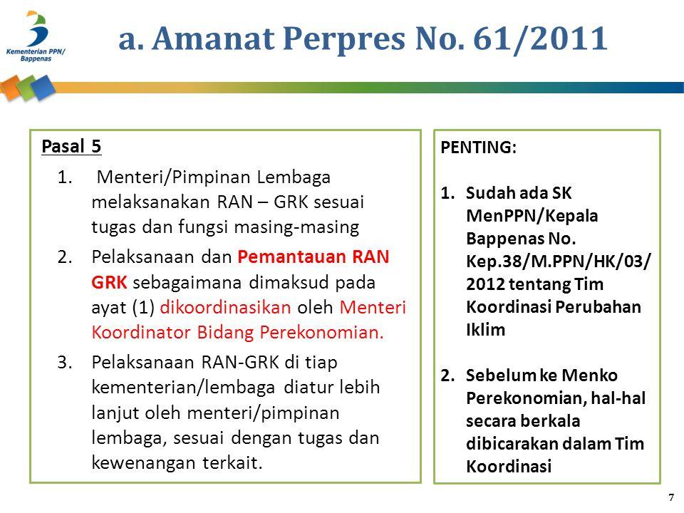 a. Amanat Perpres No. 61/2011 Pasal 5 1. Menteri/Pimpinan Lembaga melaksanakan RAN – GRK sesuai tugas dan fungsi masing-masing 2.Pelaksanaan dan Peman