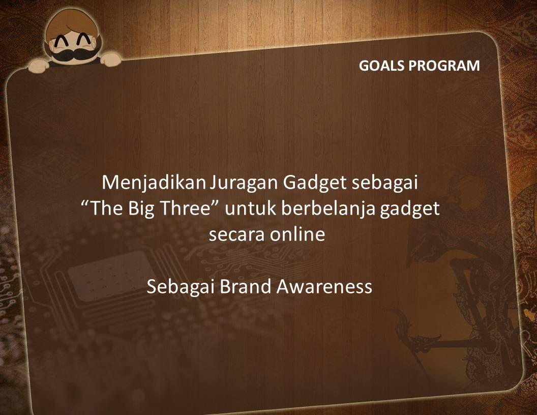 """GOALS PROGRAM Menjadikan Juragan Gadget sebagai """"The Big Three"""" untuk berbelanja gadget secara online Sebagai Brand Awareness"""