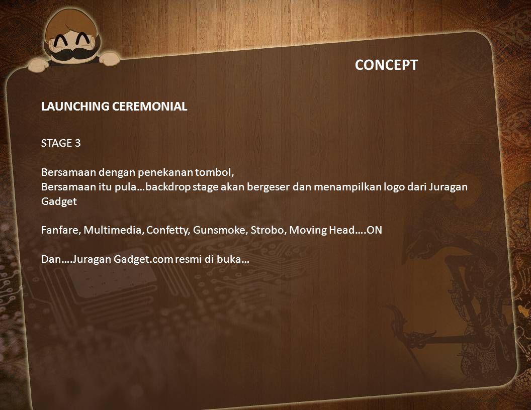 CONCEPT LAUNCHING CEREMONIAL STAGE 3 Bersamaan dengan penekanan tombol, Bersamaan itu pula…backdrop stage akan bergeser dan menampilkan logo dari Jura