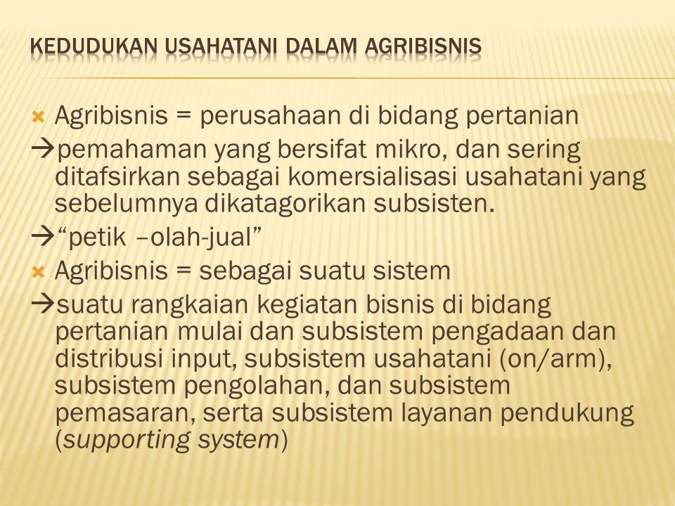  Agribisnis = perusahaan di bidang pertanian  pemahaman yang bersifat mikro, dan sering ditafsirkan sebagai komersialisasi usahatani yang sebelumnya