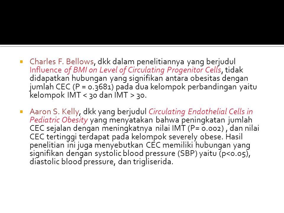  Charles F. Bellows, dkk dalam penelitiannya yang berjudul Influence of BMI on Level of Circulating Progenitor Cells, tidak didapatkan hubungan yang