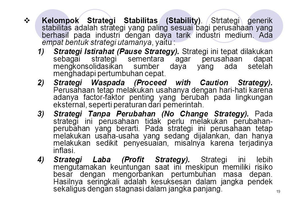 19  Kelompok Strategi Stabilitas (Stability). Strtategi generik stabilitas adalah strategi yang paling sesuai bagi perusahaan yang berhasil pada indu