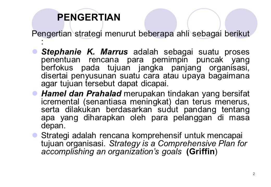 2 PENGERTIAN Pengertian strategi menurut beberapa ahli sebagai berikut :  Stephanie K. Marrus adalah sebagai suatu proses penentuan rencana para pemi