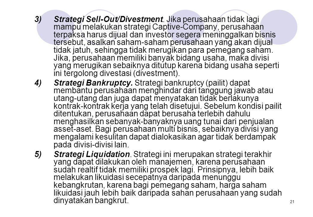 21 3)Strategi Sell-Out/Divestment. Jika perusahaan tidak lagi mampu melakukan strategi Captive-Company, perusahaan terpaksa harus dijual dan investor