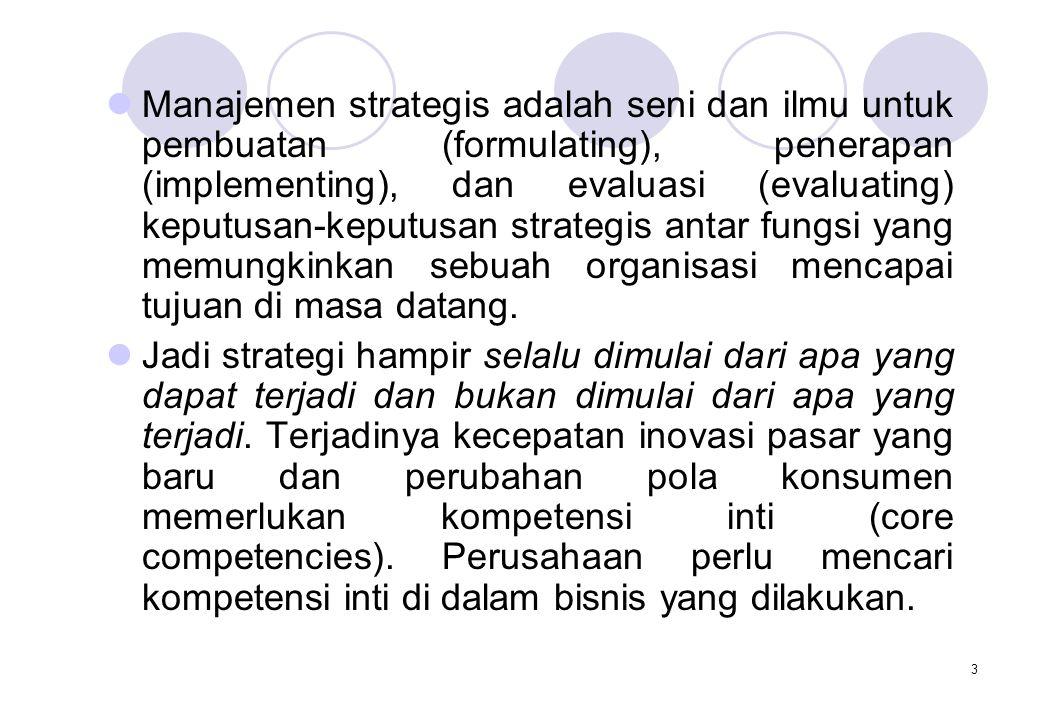 3  Manajemen strategis adalah seni dan ilmu untuk pembuatan (formulating), penerapan (implementing), dan evaluasi (evaluating) keputusan-keputusan st