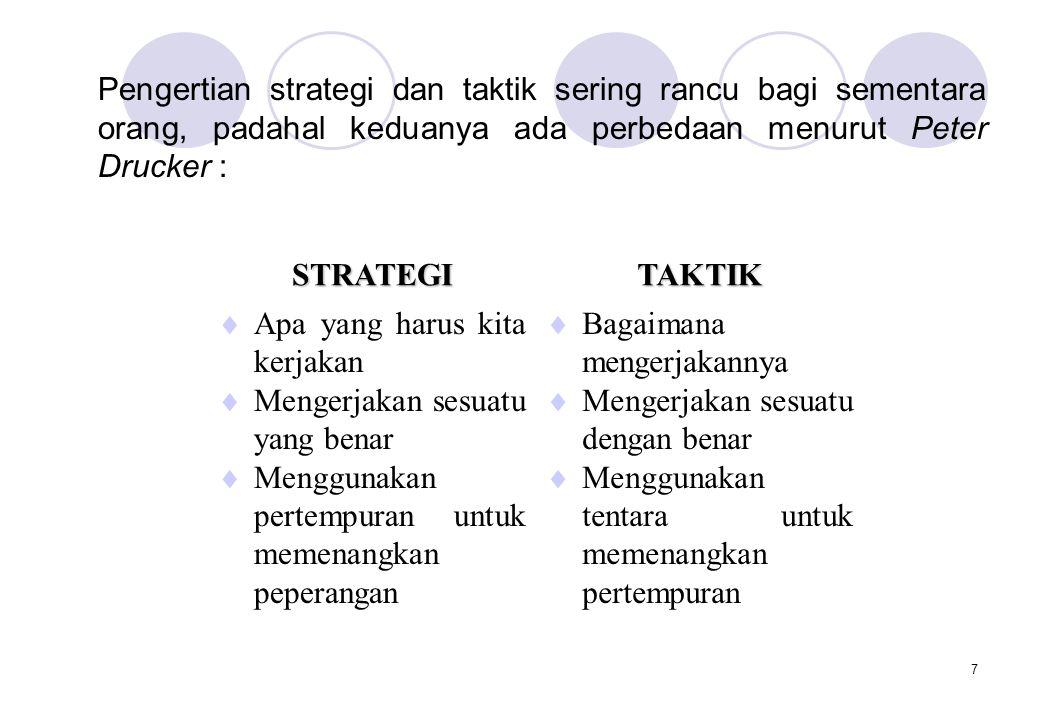 7 Pengertian strategi dan taktik sering rancu bagi sementara orang, padahal keduanya ada perbedaan menurut Peter Drucker : STRATEGITAKTIK  Apa yang h