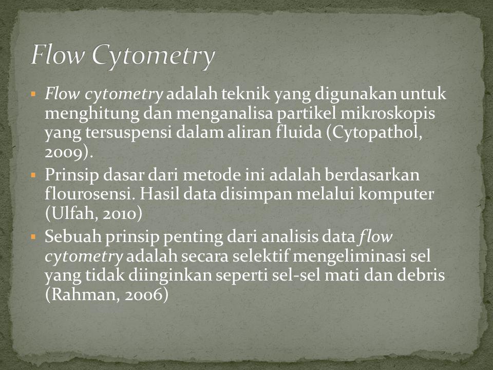  Flow cytometry adalah teknik yang digunakan untuk menghitung dan menganalisa partikel mikroskopis yang tersuspensi dalam aliran fluida (Cytopathol,