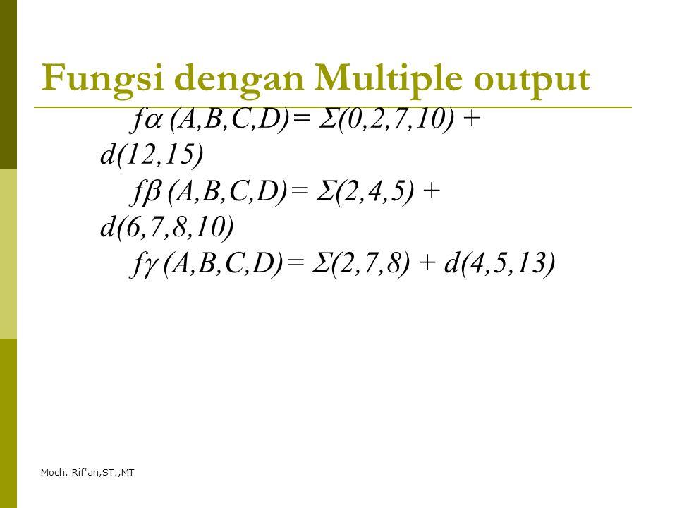 Moch. Rif'an,ST.,MT Fungsi dengan Multiple output f  (A,B,C,D)=  (0,2,7,10) + d(12,15) f  (A,B,C,D)=  (2,4,5) + d(6,7,8,10) f  (A,B,C,D)=  (2,7,