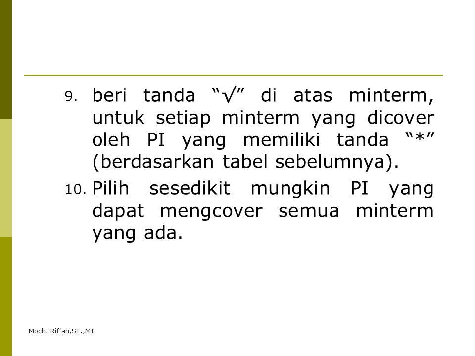 """Moch. Rif'an,ST.,MT 9. beri tanda """"√"""" di atas minterm, untuk setiap minterm yang dicover oleh PI yang memiliki tanda """"*"""" (berdasarkan tabel sebelumnya"""