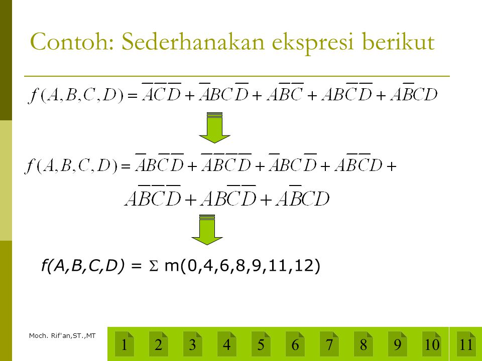 Moch. Rif'an,ST.,MT Contoh: Sederhanakan ekspresi berikut f(A,B,C,D) =  m(0,4,6,8,9,11,12) 1234567891011