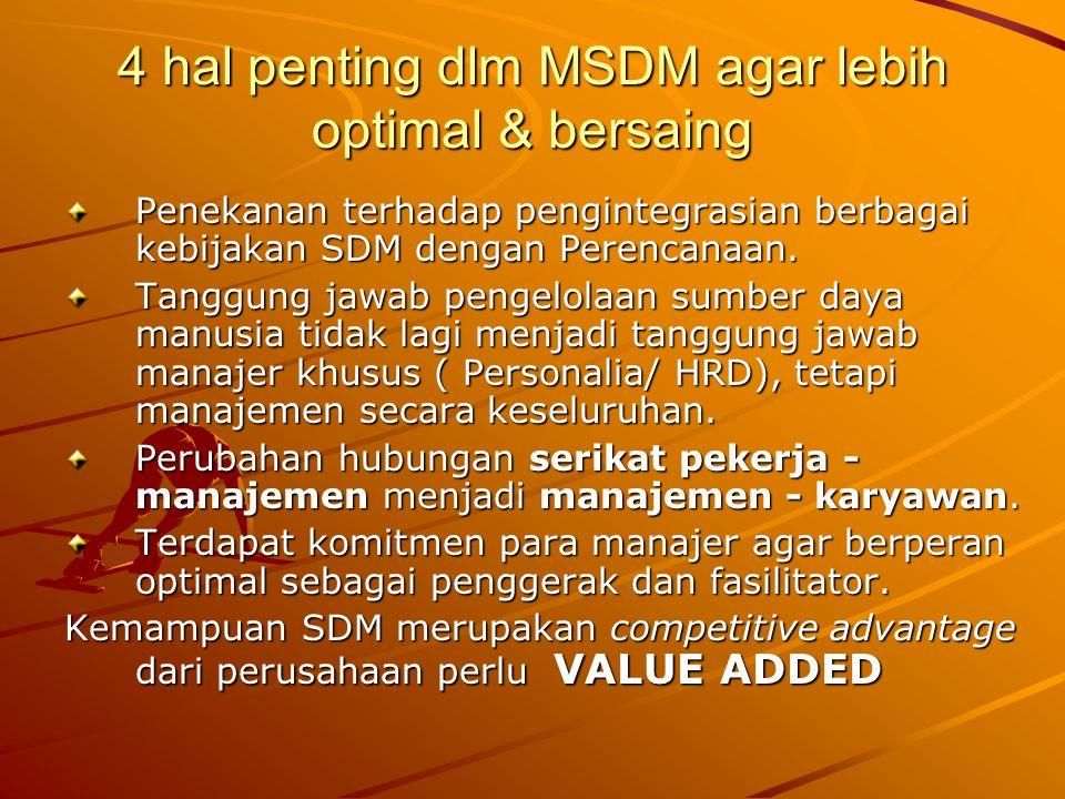 4 hal penting dlm MSDM agar lebih optimal & bersaing Penekanan terhadap pengintegrasian berbagai kebijakan SDM dengan Perencanaan. Tanggung jawab peng