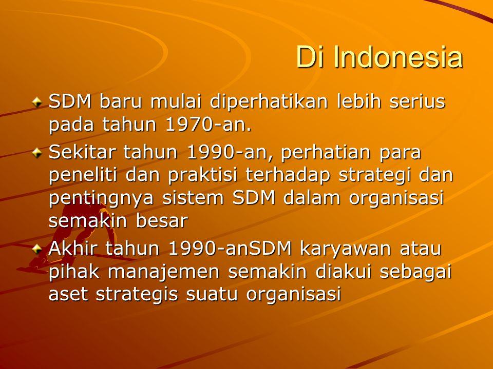 Di Indonesia SDM baru mulai diperhatikan lebih serius pada tahun 1970-an. Sekitar tahun 1990-an, perhatian para peneliti dan praktisi terhadap strateg