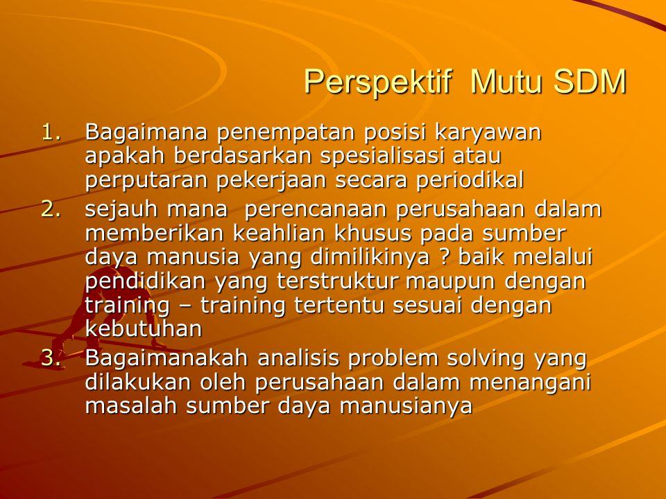 Perspektif Mutu SDM 1.Bagaimana penempatan posisi karyawan apakah berdasarkan spesialisasi atau perputaran pekerjaan secara periodikal 2.sejauh mana p