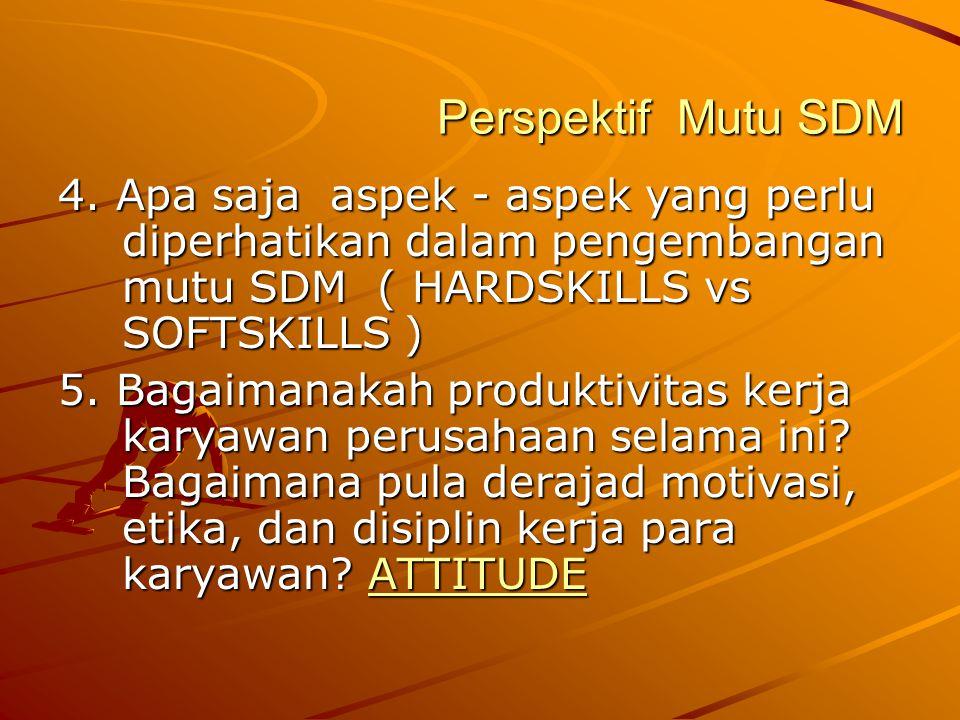 Perspektif Mutu SDM 4. Apa saja aspek - aspek yang perlu diperhatikan dalam pengembangan mutu SDM ( HARDSKILLS vs SOFTSKILLS ) 5. Bagaimanakah produkt