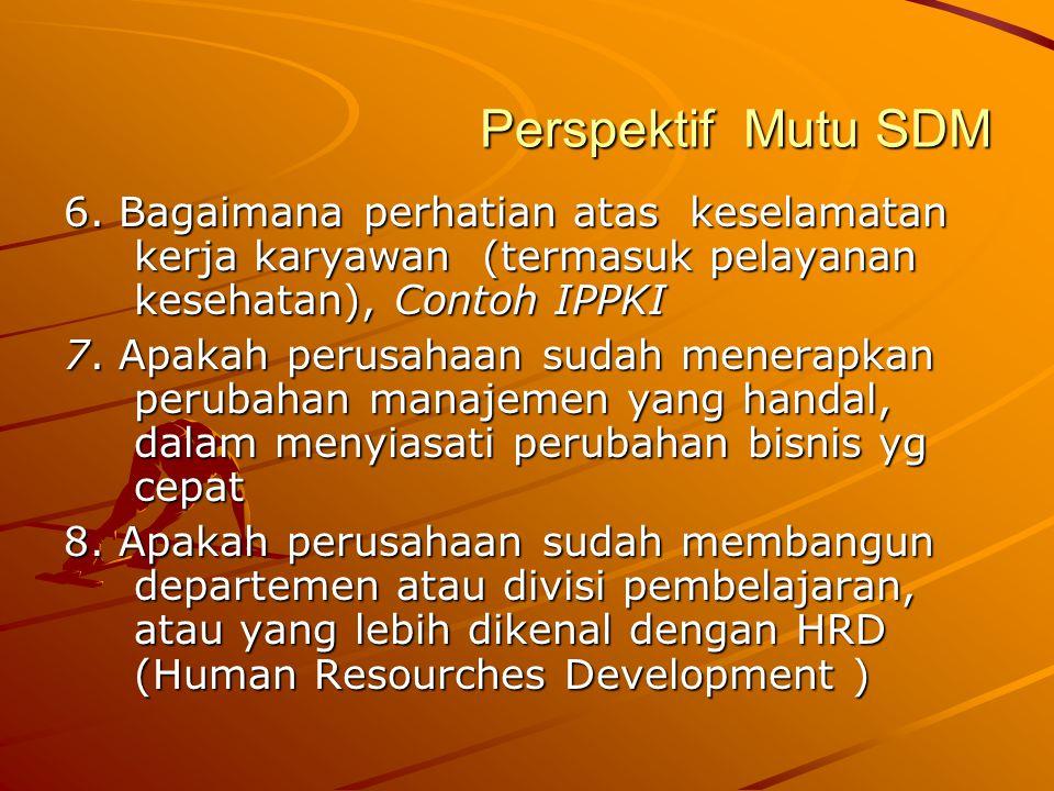 Perspektif Mutu SDM 6. Bagaimana perhatian atas keselamatan kerja karyawan (termasuk pelayanan kesehatan), Contoh IPPKI 7. Apakah perusahaan sudah men