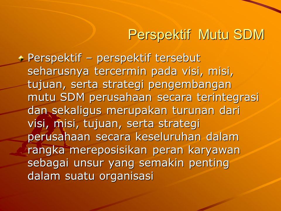 Perspektif Mutu SDM Perspektif – perspektif tersebut seharusnya tercermin pada visi, misi, tujuan, serta strategi pengembangan mutu SDM perusahaan sec