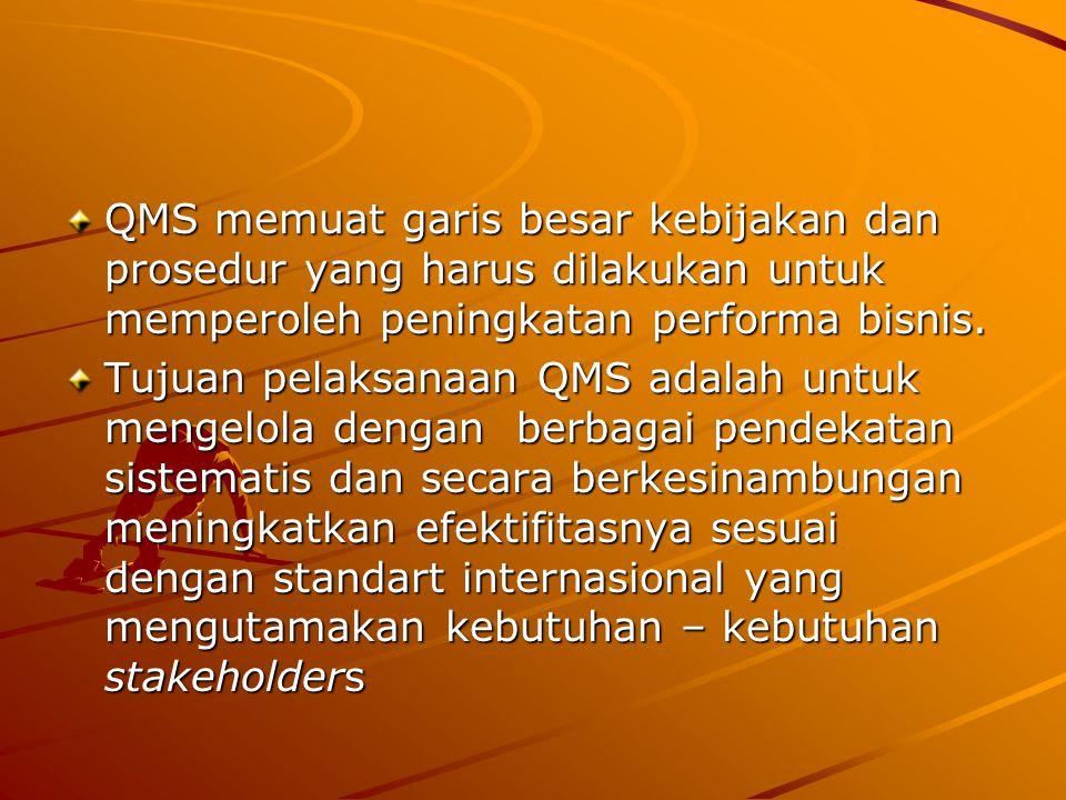 QMS memuat garis besar kebijakan dan prosedur yang harus dilakukan untuk memperoleh peningkatan performa bisnis. Tujuan pelaksanaan QMS adalah untuk m