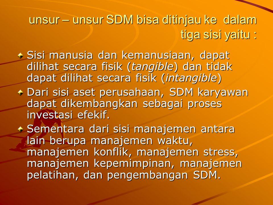 unsur – unsur SDM bisa ditinjau ke dalam tiga sisi yaitu : Sisi manusia dan kemanusiaan, dapat dilihat secara fisik (tangible) dan tidak dapat dilihat