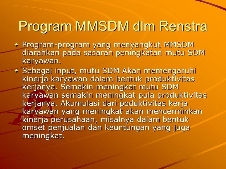 Program MMSDM dlm Renstra Program-program yang menyangkut MMSDM diarahkan pada sasaran peningkatan mutu SDM karyawan. Sebagai input, mutu SDM Akan mem
