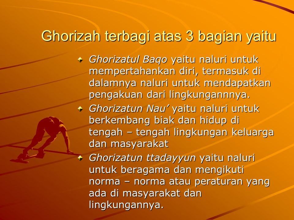 Ghorizah terbagi atas 3 bagian yaitu Ghorizatul Baqo yaitu naluri untuk mempertahankan diri, termasuk di dalamnya naluri untuk mendapatkan pengakuan d