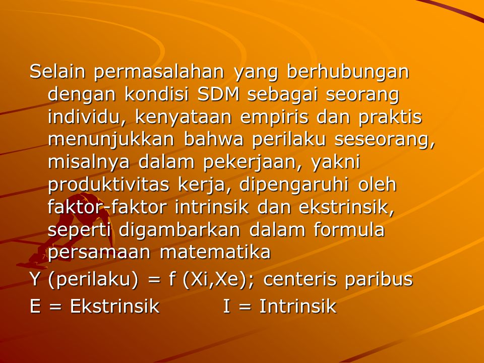 Selain permasalahan yang berhubungan dengan kondisi SDM sebagai seorang individu, kenyataan empiris dan praktis menunjukkan bahwa perilaku seseorang, misalnya dalam pekerjaan, yakni produktivitas kerja, dipengaruhi oleh faktor-faktor intrinsik dan ekstrinsik, seperti digambarkan dalam formula persamaan matematika Y (perilaku) = f (Xi,Xe); centeris paribus E = EkstrinsikI = Intrinsik
