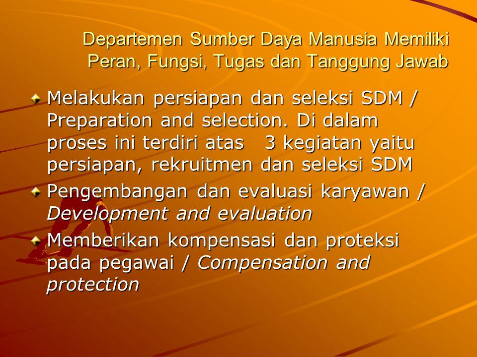 Departemen Sumber Daya Manusia Memiliki Peran, Fungsi, Tugas dan Tanggung Jawab Melakukan persiapan dan seleksi SDM / Preparation and selection. Di da