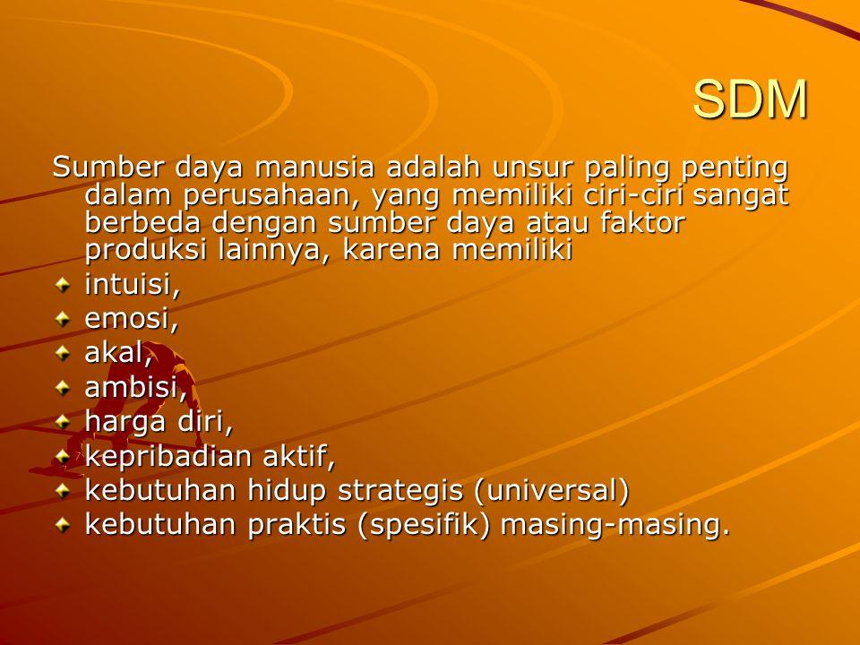 SDM Sumber daya manusia adalah unsur paling penting dalam perusahaan, yang memiliki ciri-ciri sangat berbeda dengan sumber daya atau faktor produksi l