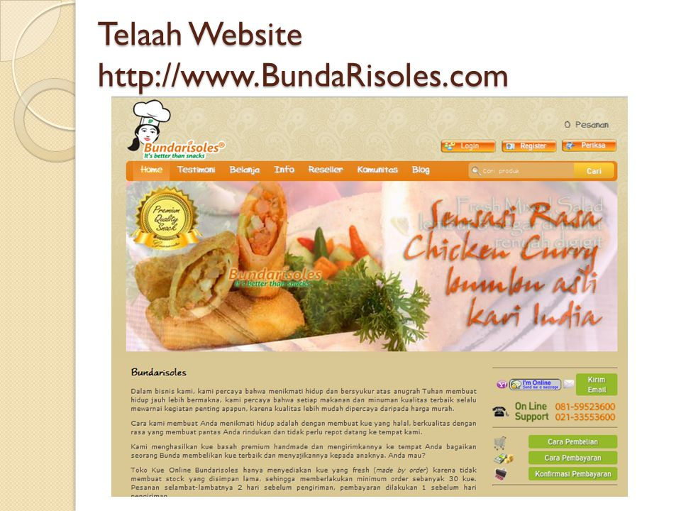 Telaah Website http://www.BundaRisoles.com