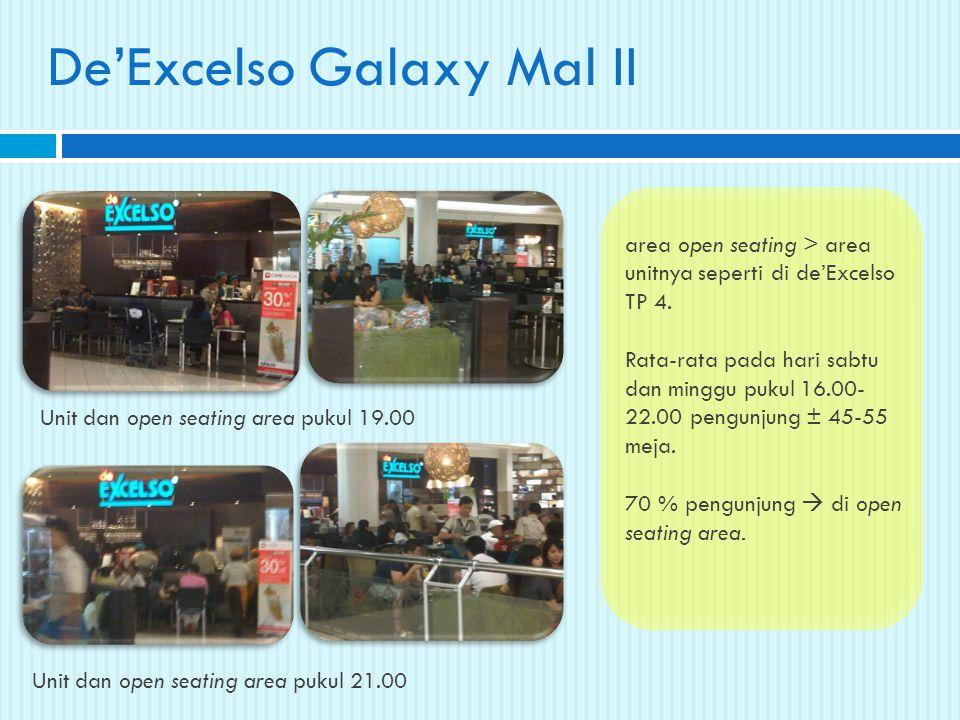 De'Excelso Galaxy Mal II Unit dan open seating area pukul 19.00 Unit dan open seating area pukul 21.00 area open seating > area unitnya seperti di de'