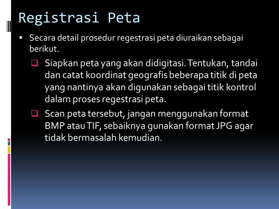 Registrasi Peta  Secara detail prosedur regestrasi peta diuraikan sebagai berikut.
