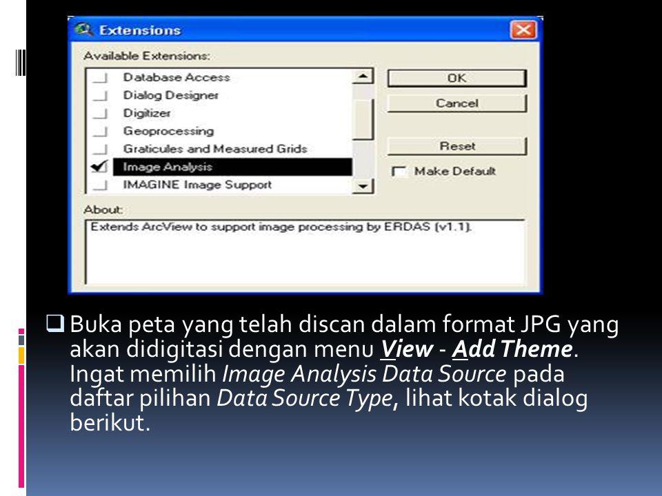  Buka peta yang telah discan dalam format JPG yang akan didigitasi dengan menu View - Add Theme.