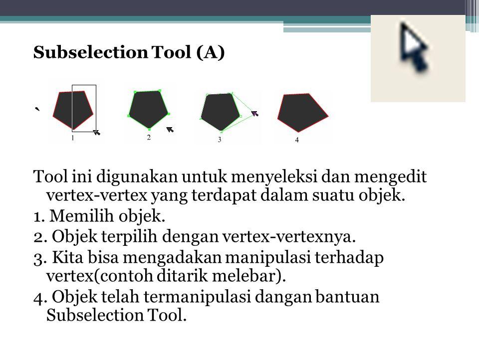Subselection Tool (A) ` Tool ini digunakan untuk menyeleksi dan mengedit vertex-vertex yang terdapat dalam suatu objek. 1. Memilih objek. 2. Objek ter