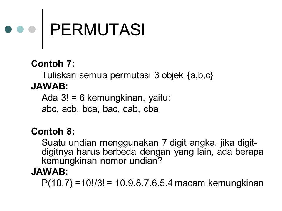 PERMUTASI Contoh 7: Tuliskan semua permutasi 3 objek {a,b,c} JAWAB: Ada 3! = 6 kemungkinan, yaitu: abc, acb, bca, bac, cab, cba Contoh 8: Suatu undian