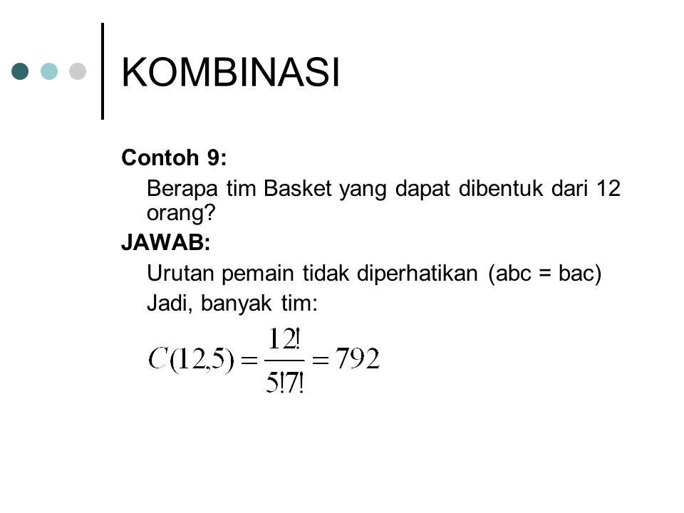 KOMBINASI Contoh 9: Berapa tim Basket yang dapat dibentuk dari 12 orang? JAWAB: Urutan pemain tidak diperhatikan (abc = bac) Jadi, banyak tim: