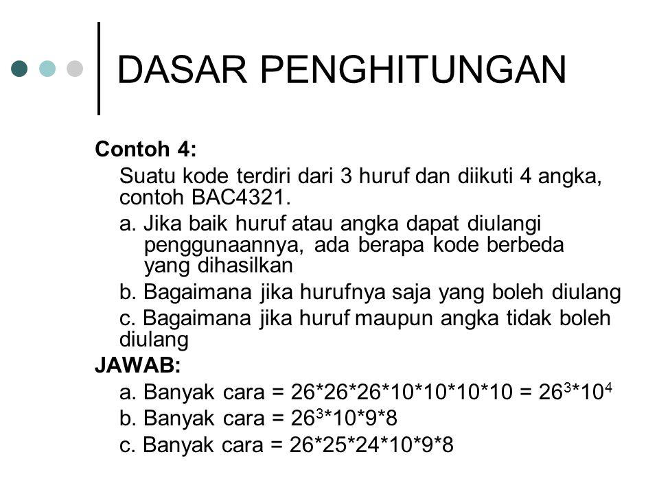 DASAR PENGHITUNGAN Contoh 4: Suatu kode terdiri dari 3 huruf dan diikuti 4 angka, contoh BAC4321. a. Jika baik huruf atau angka dapat diulangi penggun