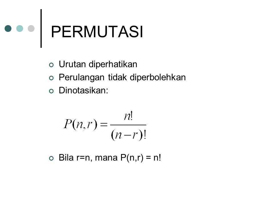 PERMUTASI Urutan diperhatikan Perulangan tidak diperbolehkan Dinotasikan: Bila r=n, mana P(n,r) = n!