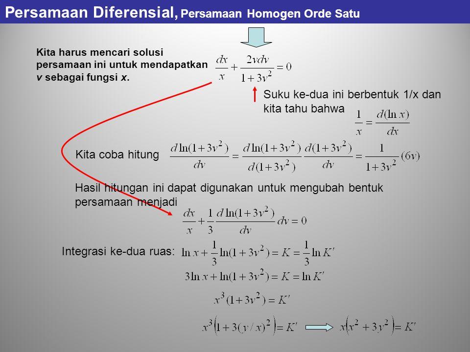 Kita harus mencari solusi persamaan ini untuk mendapatkan v sebagai fungsi x.